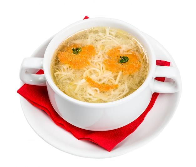 子メニューのレストラン料理-顔の麺のスープ