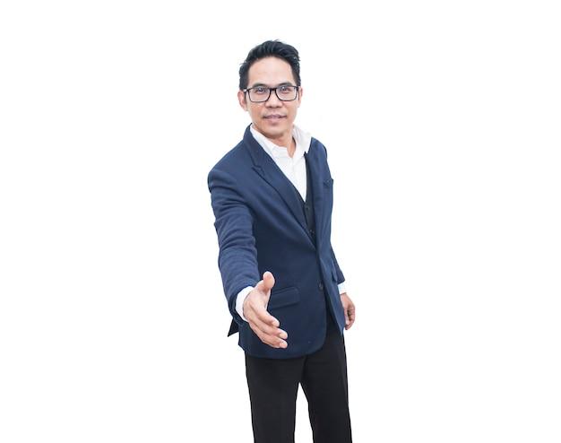アジアビジネスの男性の手の揺れ