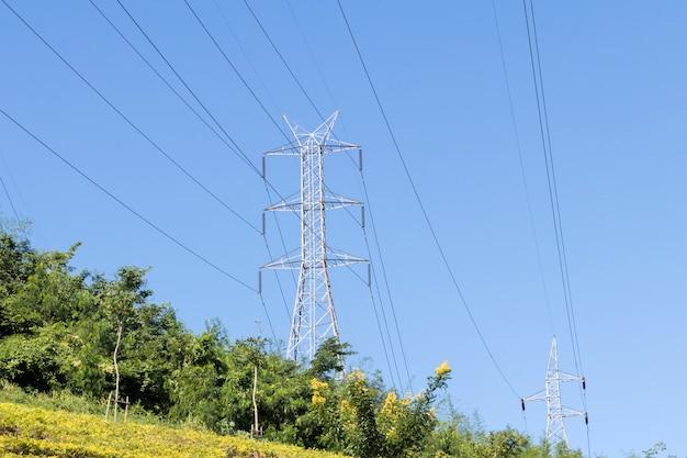 フィールド上の電力線の大きなビュー