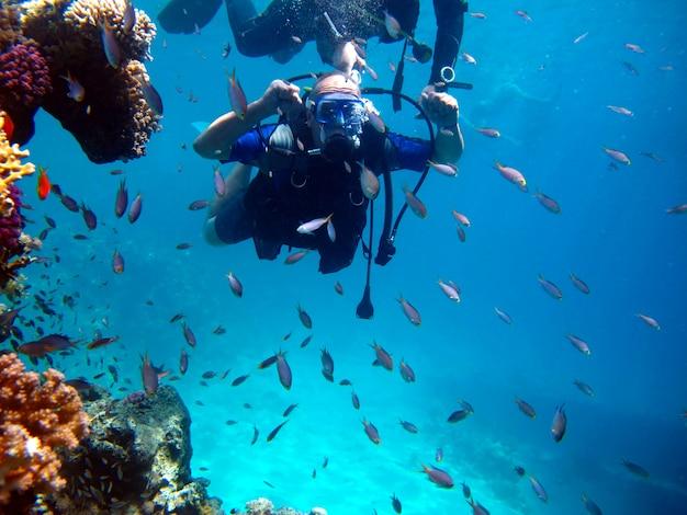 Человек аквалангист и красивый красочный коралловый риф под водой