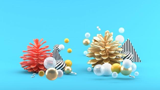 Шишка среди разноцветных шариков на голубом пространстве