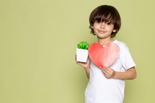 Вид спереди улыбающегося мальчика в белой футболке, держащего сердечко на каменном цветном пространстве