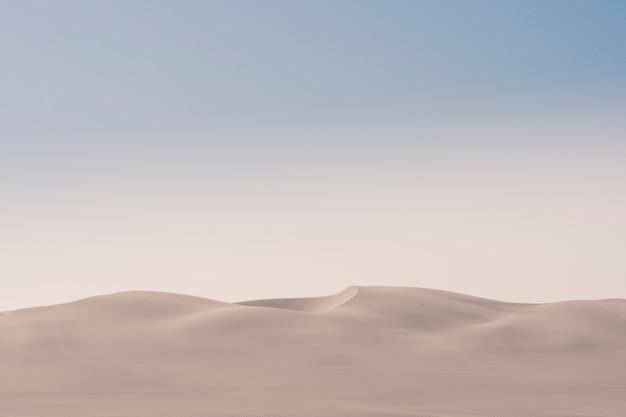 アフリカのナミビアの朝のスケルトンコーストの砂漠の砂丘の眺め。