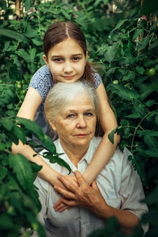 幸せな少女と温室の緑の中でカメラを見て彼女の祖母の肖像画