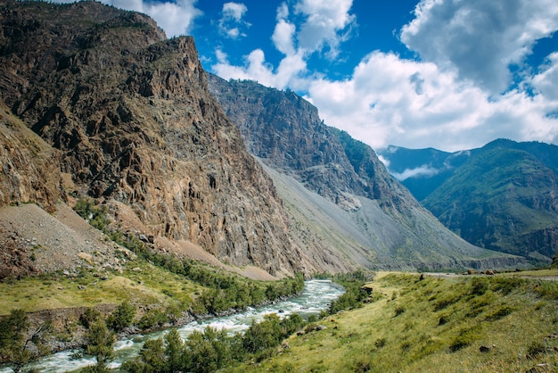 Река среди высоких гор. живописный пейзаж скалистых гор алтая и реки чулышман. горная цепь, река, зеленое побережье, голубое небо и белые облака.