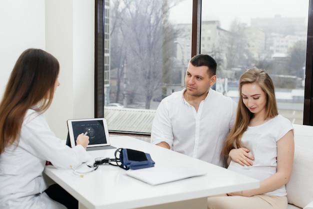 超音波検査後の婦人科医の診察で若いカップル。妊娠と健康管理