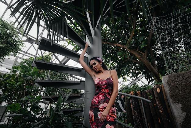 Молодая красивая брюнетка позирует возле винтовой лестницы в ботаническом саду среди густых зарослей тропического леса. спа