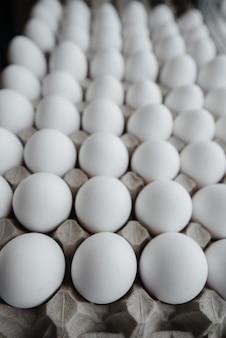 段ボールの形で白い新鮮な卵のクローズアップのトレイ。農業産業。