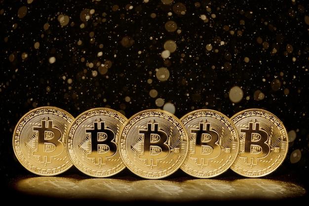 黒の背景にビットコイン