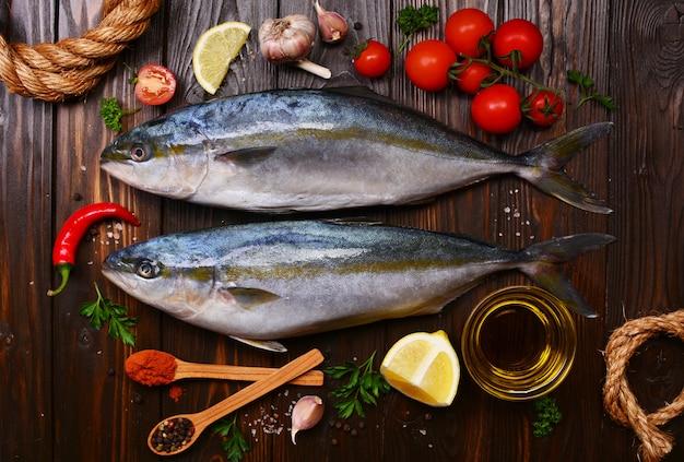 Рыба желтохвостая (японский амберджек) кусочки и овощи