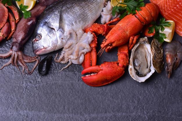 新鮮な魚とイカのフラットレイアウト
