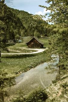 森の緑に囲まれた緑の野原にある小さな木造の納屋の垂直方向のショット