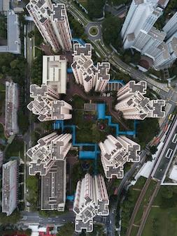 Воздушный выстрел из городской современной бизнес-архитектуры