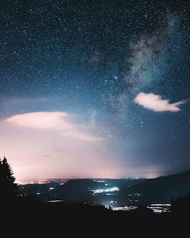 真夜中に始まる美しい空の下の木のシルエット