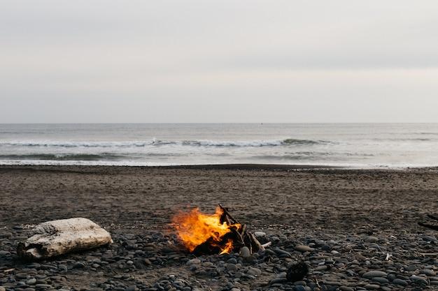 ビーチでたき火