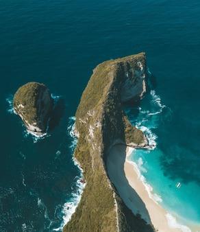 水に植物が付いている崖の垂直方向の空中ショット