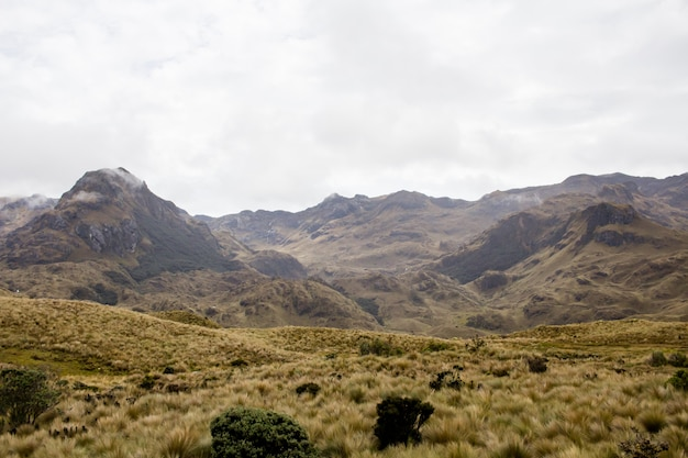 Красивое поле с удивительными скалистыми горами и холмами и облачным небом