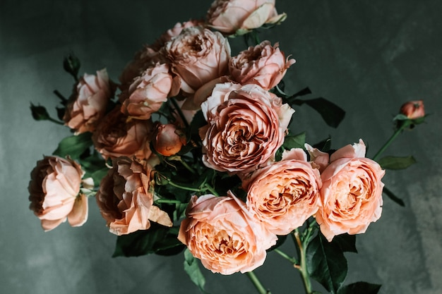 ガラスの花瓶にピンクの庭のバラの美しい選択的なクローズアップショット