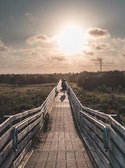 ゴールデンアワーに撮影されたビーチにつながる木製の橋の美しい垂直対称ショット