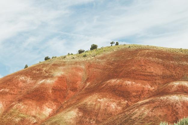 青い曇り空の下で赤い砂と緑に覆われた丘の風景