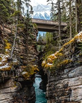 魅惑的な山岳風景の真ん中にある川の垂直ショット