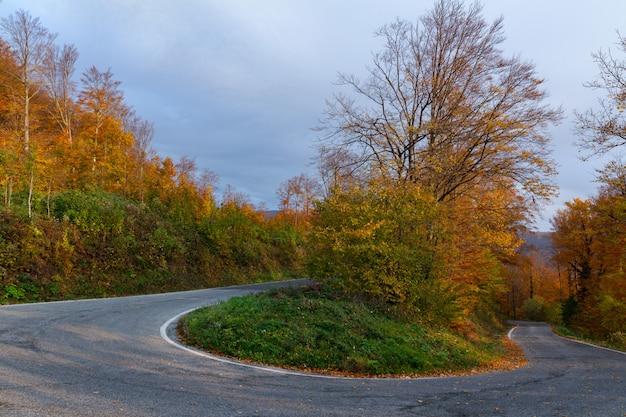 秋のクロアチア、ザグレブのメドヴェドニツァ山の曲がりくねった道