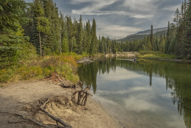 緑の木々に覆われた海岸の真ん中にある湖でボートに乗っている人の美しい景色