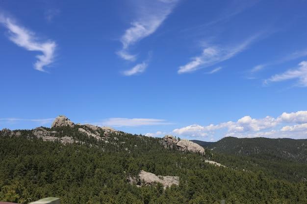 米国サウスダコタ州のバッドランズ国立公園で森林に覆われた山