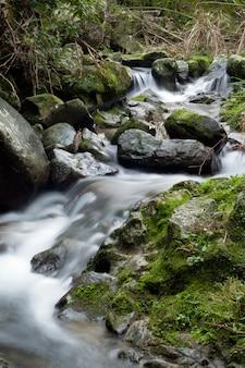 Красивые пейзажи мощного водопада в лесу возле скальных образований