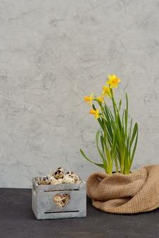 水仙の黄麻布の新鮮な花と木製のバスケットにウズラの鳥の卵の装飾。
