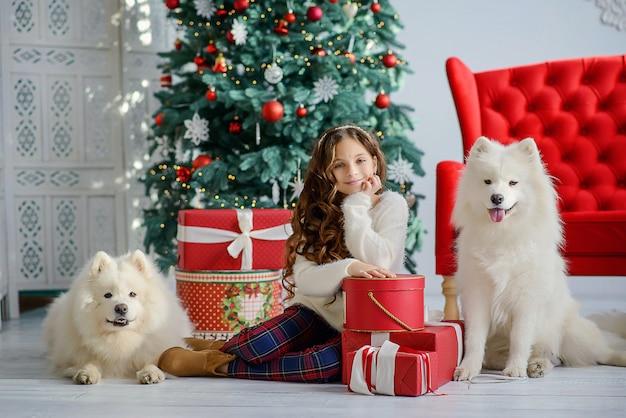 Маленькая красивая девушка и две большие пушистые собаки белого волка рядом с елки и красные коробки с подарками. новогодний праздничный интерьер.