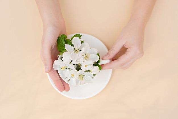 ベージュ色の背景に女性のエレガントな手でコーヒーカップに花が咲く白い春のリンゴの木。春夏のコンセプトです。フラット横たわっていた。