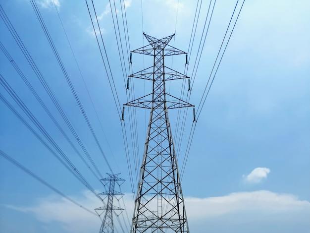 青い曇り空に対する高電圧タワーと送電線の低角度のビュー