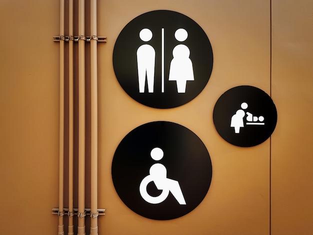 茶色の壁に黒い丸プレートで白いトイレのシンボルのセット