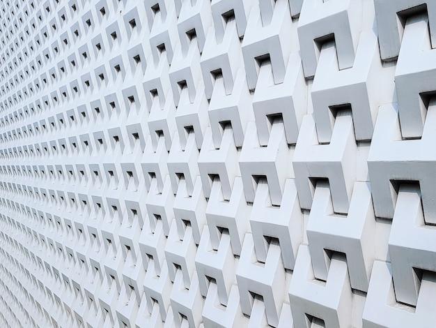 白い建物外観パターンのフルフレームの視点の背景