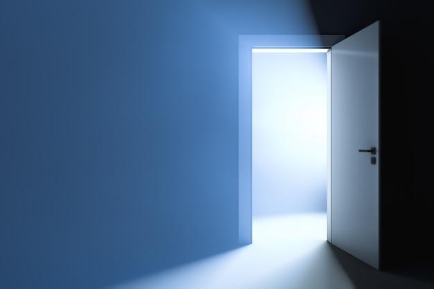 少し半開きのドアの後ろの明るい光。