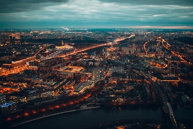 夜のモスクワの街の明かり