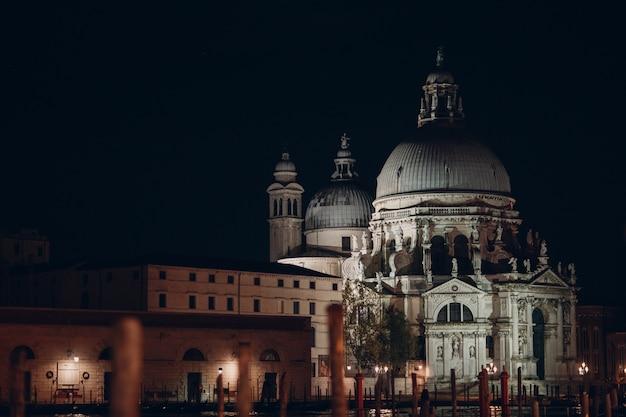イタリア、ベニスのサンタマリアデッラサルーテと大運河の古い大聖堂