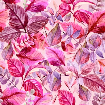 葉とのシームレスなパターン。水彩イラスト