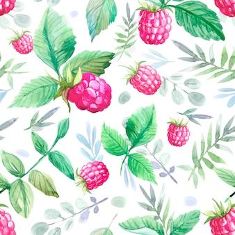 ラズベリーと葉のシームレスなパターン。水彩イラスト