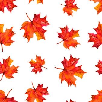 Бесшовный фон с осенними листьями. акварельные иллюстрации