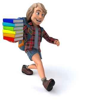 Весёлый рюкзаком мультфильм парень