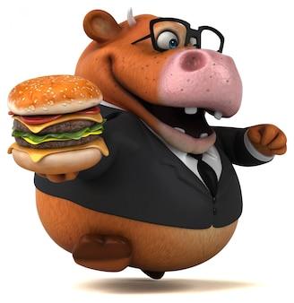 ハンバーガーで楽しい牛