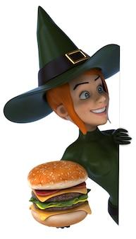 ハンバーガーを持つセクシーな魔女女性