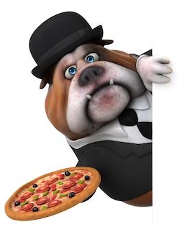 ピザと楽しいブルドッグ