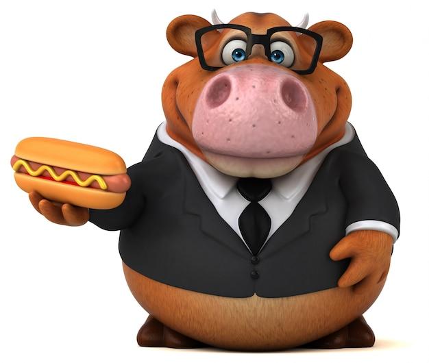 ホットドッグと楽しい牛