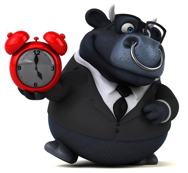 赤い時計と黒牛
