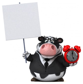 赤い時計と空白のボードで楽しい牛