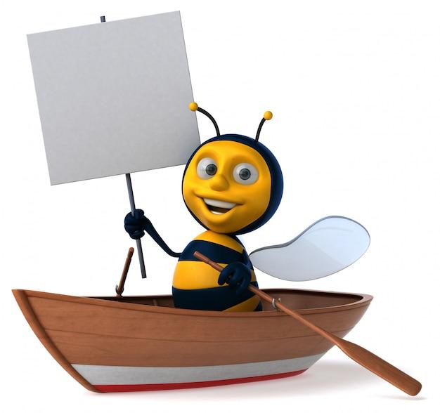 Весело иллюстрированная пчела в лодке с плакатом