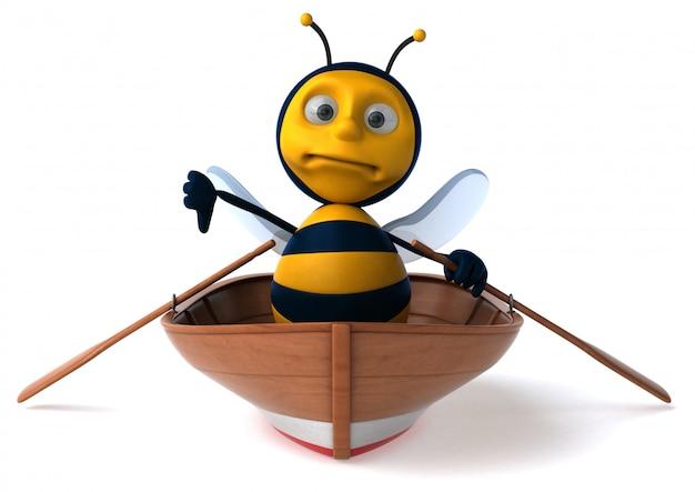 Весело иллюстрированная пчела в лодке показывает палец вниз